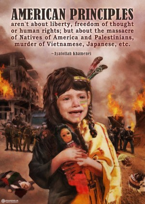 American values, from the massacre of Natives in the U.S., to the massacre of Palestinians
